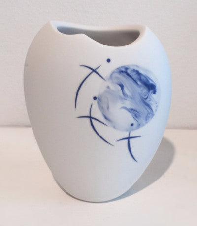 Small White Vase with Blue Moon & Birds 2