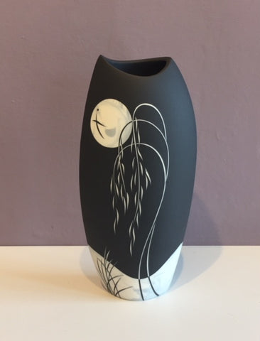 Tall Black Vase with Grey Moon 2