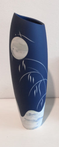 Tall Blue Vase with Moon and Grasses 1