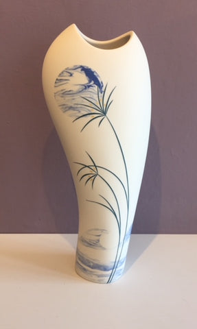 Tall White Vase with Blue Moon 1