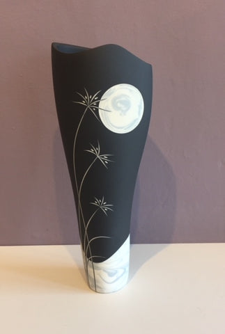 Tall Black Vase with Grey Moon 1