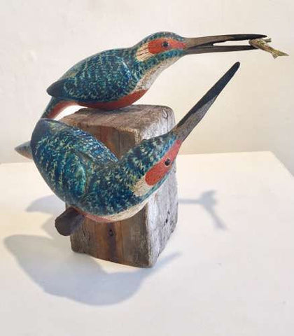 Two Kingfishers with Fish