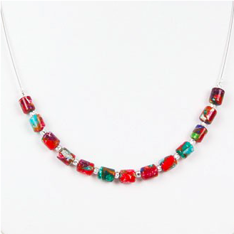 Marbled Barrels Necklace
