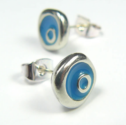 Blue Pool Stud Earrings