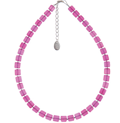 Sugared Square Necklace  (Raspberry)