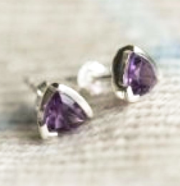 Amethyst Triangular Studs