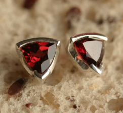 Garnet Triangular Studs