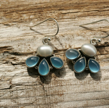Pearl and Chalcedony Earrings