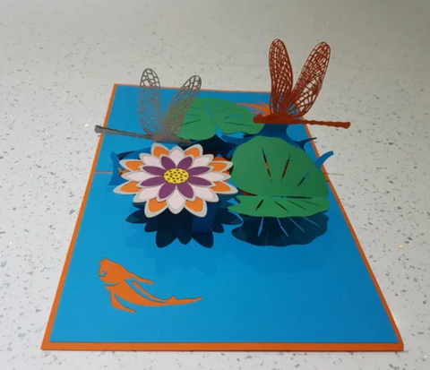 Dragonfly and Flowers Greeting Card