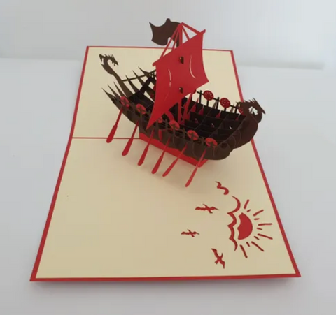 Red Viking Boat Greeting Card