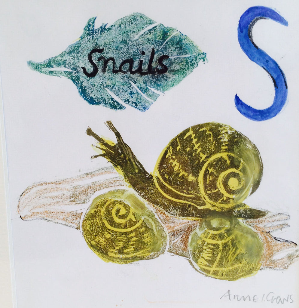 S is for Snails (blue)
