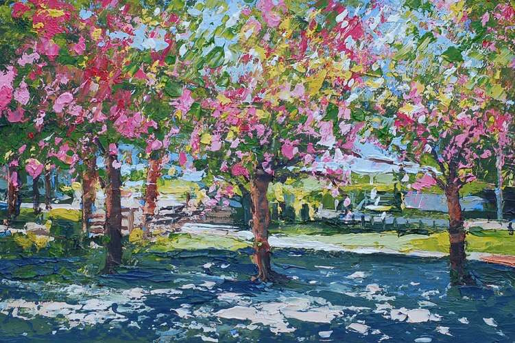 Sunlit Cherry Trees, Bournville Park (Giclee Print)