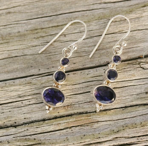 Iolite Hook Earrings