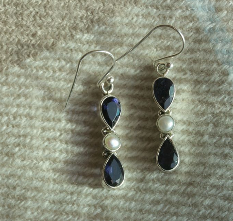 Iolite & Pearl Hook Earrings