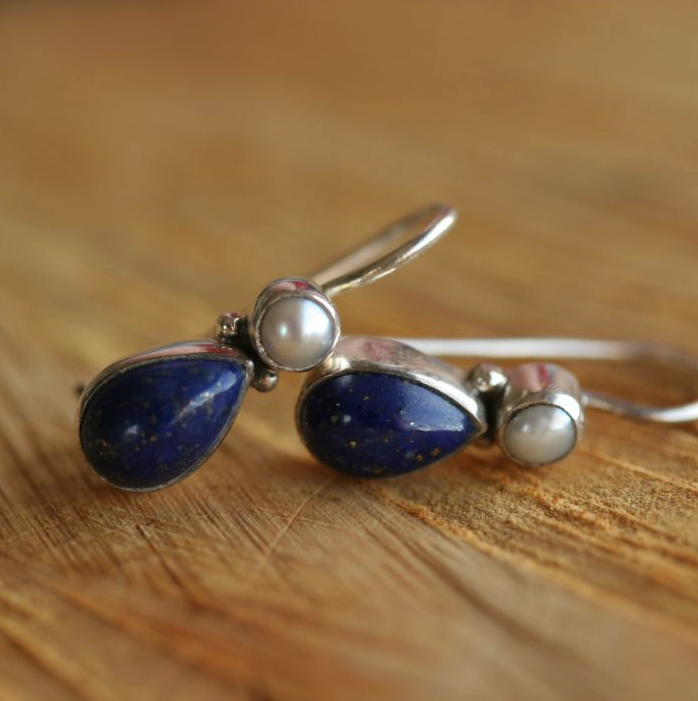 Lapis & Pearl Hook Earrings