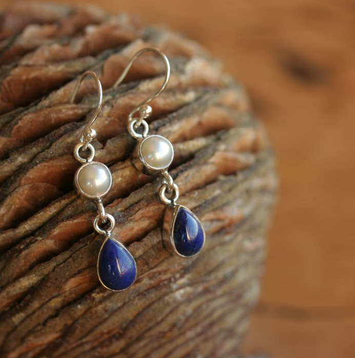Lapis and Pearl Hook Earrings