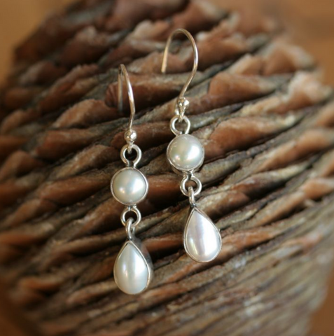Double Pearl Hook Earrings