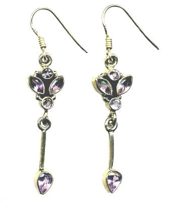 Amethyst & Silver Hook Earrings (2)