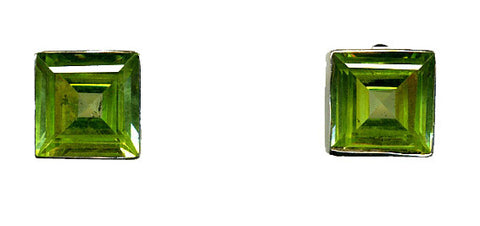 Green Topaz & Silver Stud Earrings (Large Square)
