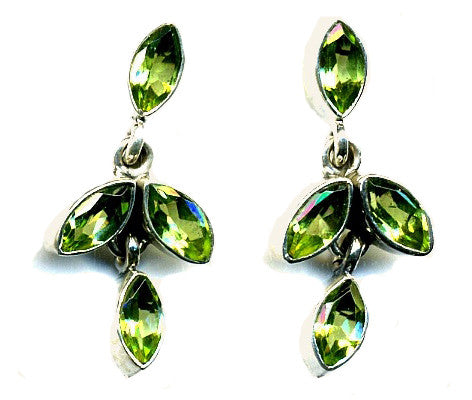 Peridot & Silver Stud Earrings (four stones)