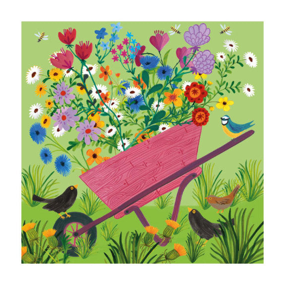 Wheelbarrow Flowers (card)