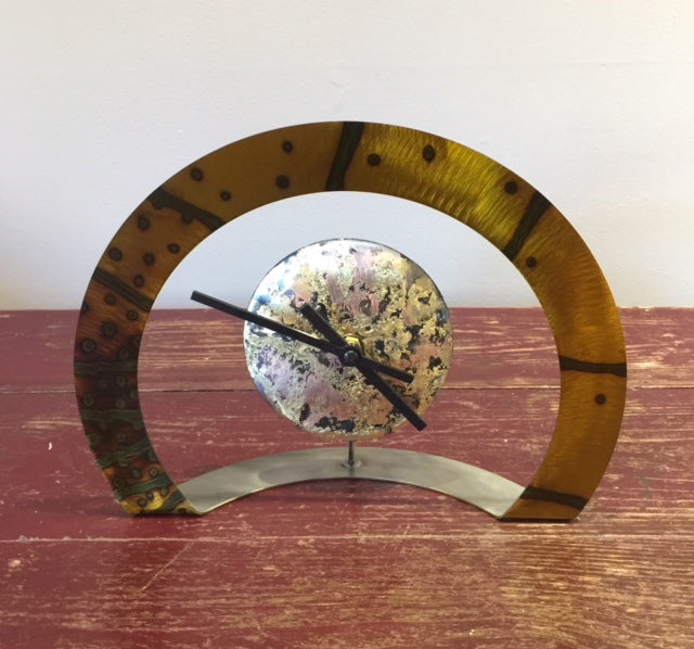 Hoop Clock (Gold with Dots and Stripes)