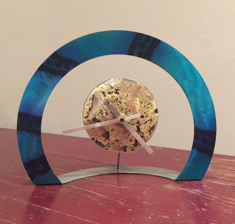 Hoop Clock (Turquoise with Stripes and Spots )