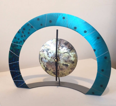 Hoop Clock (Turquoise with Black Dots & Etched Stripes)