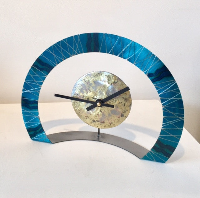 Hoop Clock (Turquoise with Wavy Lines)