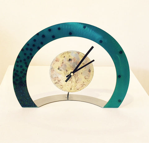 Hoop Clock (Turquoise with Black Dots)