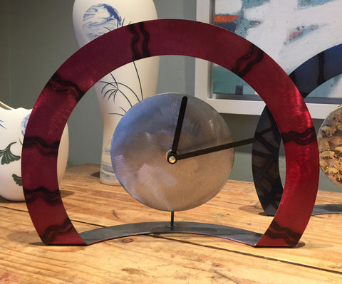 Hoop Clock (Red with Wavy Lines)
