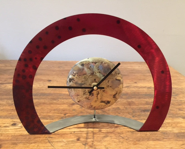 Hoop Clock (Red with Spots)