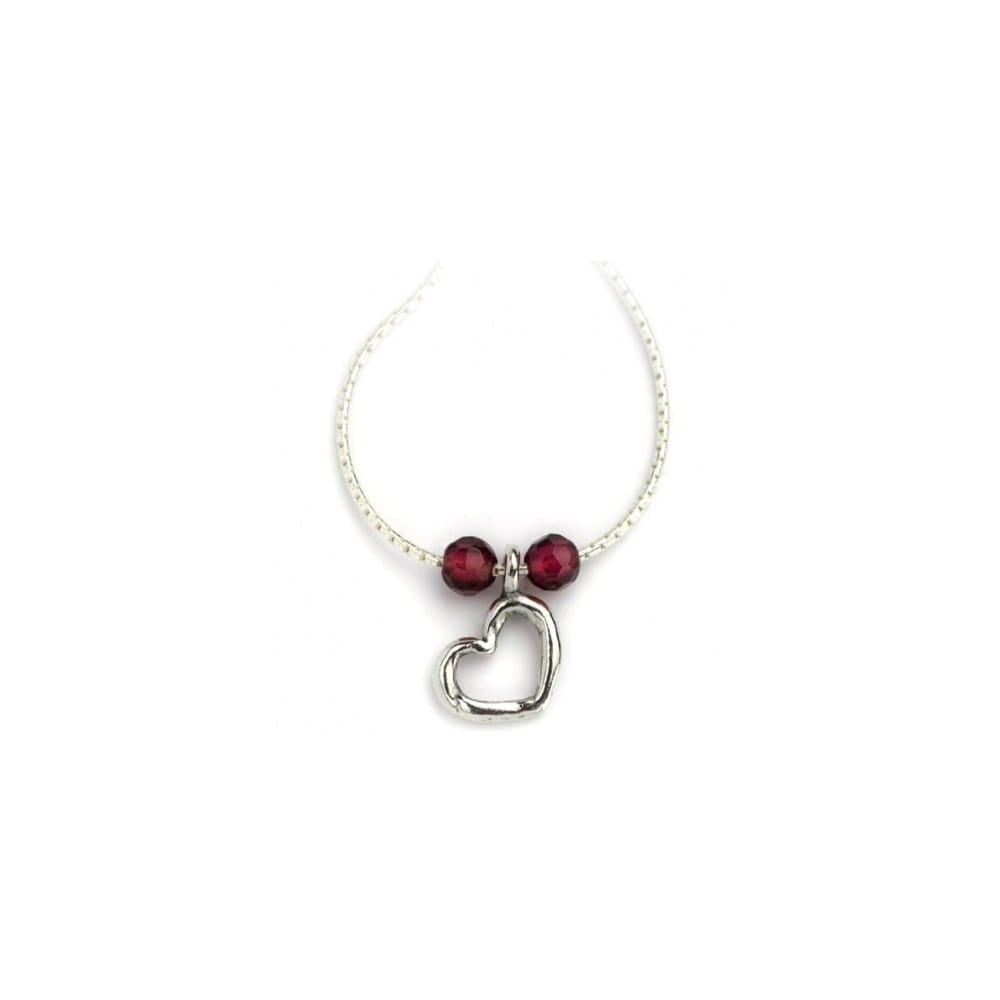 Silver Heart Pendant with Garnet Beads