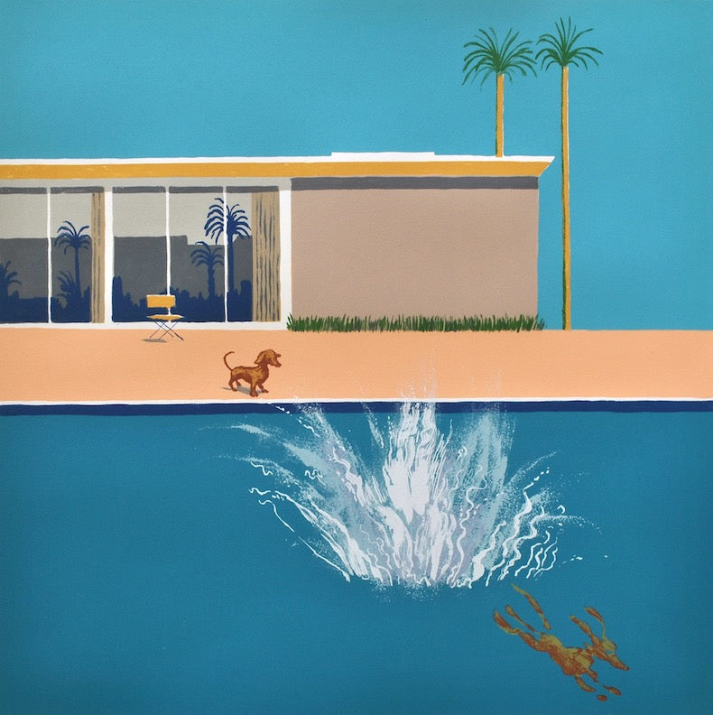 Hockney's Dog - Bigger Splash (framed) a/p