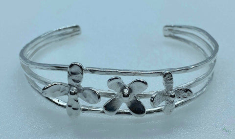 Small Silver Cuff Bangle with Flowers