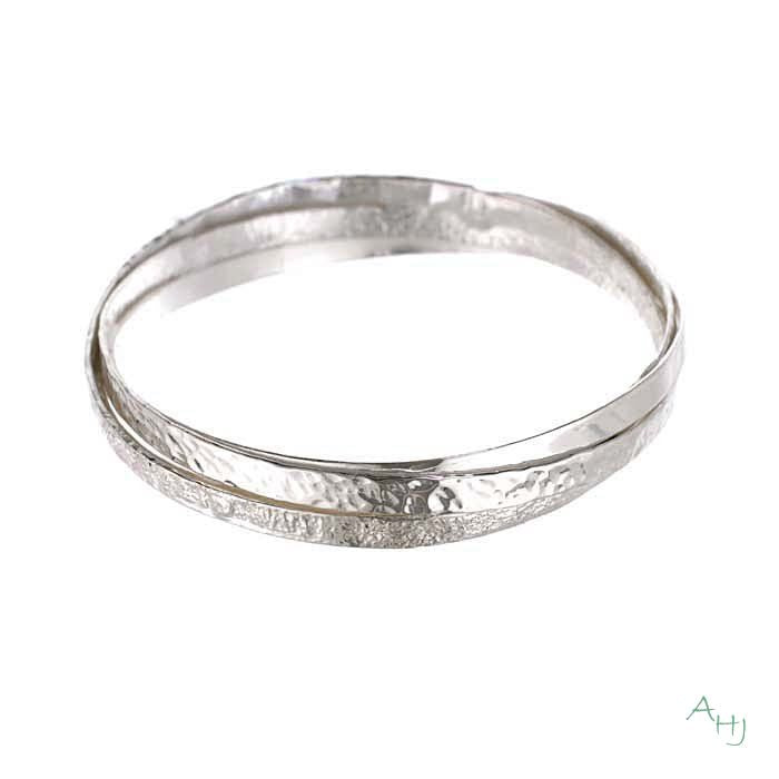 Triple Band Silver Bangle