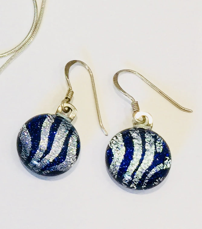 Blue & Silver Stripe Earrings
