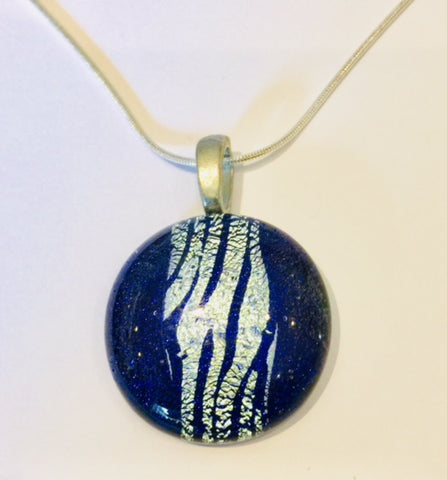 Blue Pendant with Silver Stripes (small)