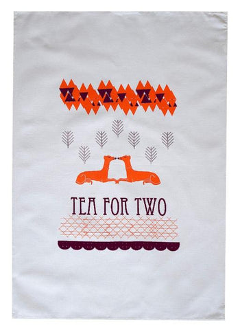 Tea for Two (Greyhound tea towel)