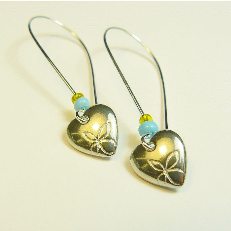Beach Heart Drop Earrings