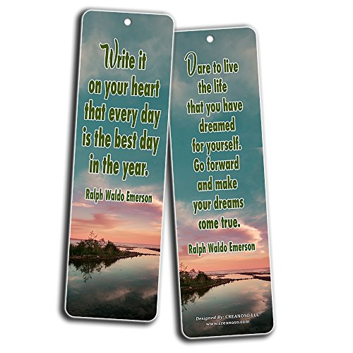 Creanoso Inspirational Bookmarks (60-Pack) - Inspiring Quotes About Life Bookmarker Cards - Awesome Positive Wisdom Encouragement Gifts for Men Women Adults Teens Kids Entrepreneur