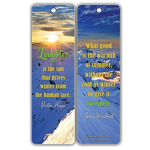Creanoso Winter Reading Inspirational Quotes Bookmarks (60-Pack) – Six Assorted Quality Bookmarks Bulk Set – Premium Gift for Bookworms – Awesome Bookmarks
