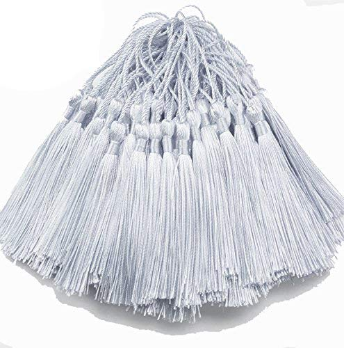 Creanoso Bookmark Tassels (Silver Gray) - 100% handmade with anti-wrinkled premium quality - Suitable for DIY Bookmarks Jewelry Making Graduation Wedding Decoration Souvenirs