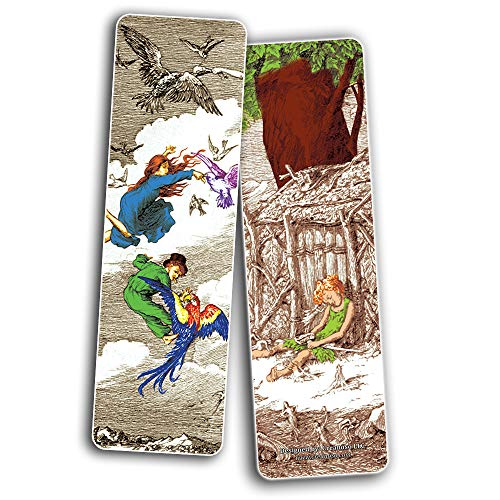 Creanoso Fairy Tales Peter and Wendy Bookmarks (60-Pack) – Inspirational Art Impressions Bookmarker Cards – Premium Gift Collection for Men & Women, Teens – Page Clipper