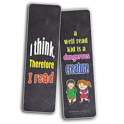 Creanoso Hard Core Reader Bookmarks for Kids (30-Pack) – Six Assorted Quality Bookmarks Bulk Set – Awesome Bookmarks Giveaways – Stocking Stuffers Gift Ideas – Page Clips – Rewards Incentives