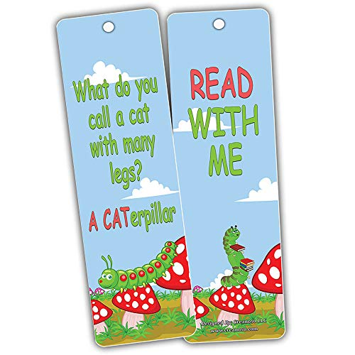 Creanoso Bug Jokes Funny Bookmarks (60-Pack) – Stocking Stuffers Gifts for Boys Girls, Teens – Epic Collection Page Clippers - Premium Quality Card Stock – DIY Kit – Teacher Gifts – Classroom Supplies