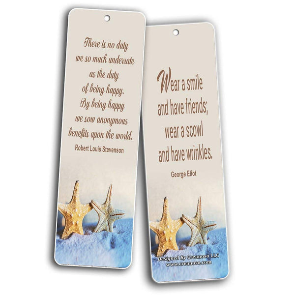 Creanoso Inspirational Sayings Bookmarks (60-Pack) - Laughter and Joy Quotes - Encouragement Set