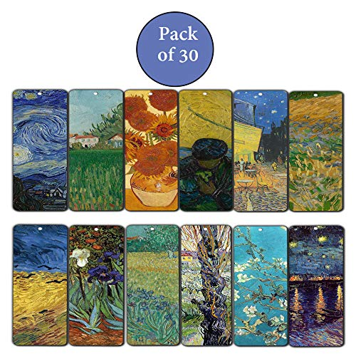 Creanoso Famous Art Series 6 Reading Bookmarks (30-Pack) – Stocking Stuffers Gift for Men, Women, Artists, Painters – Party Favors Supplies – Artistic Rewards Gifts – Artistic Painting Collections Set
