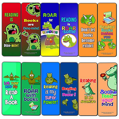 Creanoso Dinosaur Kingdom Reading Bookmark for Kids (60-Pack) – Awesome Book Page Marker Clip Set – Premium Gift for Boys & Girls, Children – Rewards Incentives – Card Stock