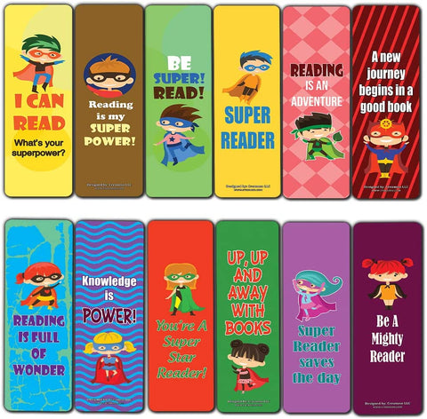 Creanoso Inspiring Sayings Bookmarks for Kids – Super Reading Star (60-Pack) – Premium Gift Set – Awesome Bookmarks for Boys, Girls, Teens – School Classroom Reading Incentives – Page Binder